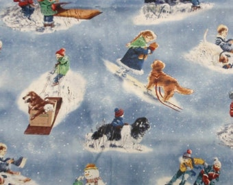 Winters Gleem Snow Play Fabric 2 yards - dusty blue