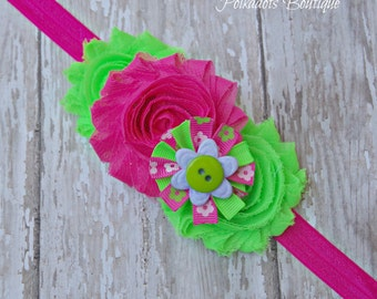 Pink and Green Baby Headband, Shabby Chic Baby Headband, Baby Girl Headband, Hot Pink & Green Headband Bright Summer Headband