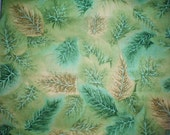 Lovely Forest Leaves Fabric Stem Leaf Print Fall Fabric Blue Green Fabric Leaves Tan Fat Quarter Quilting and Art Craft Remnant