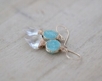 Arrowhead Druzy Gemstone Earrings, Crystal Mint Green Druzy Gold FIlled Tribal Fashion - Compass