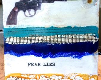 original encaustic painting- 8x8 inch  Fear Lies