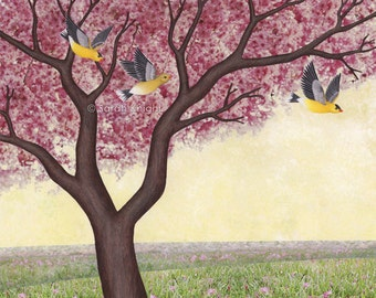 spring goldfinches - signed illustration art print 8X10 inch, goldfinch birds flight yellow green pink tree blossom floral picture landscape