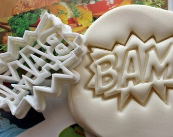 BAM Comic Book Symbol Cookie Cutter / Made From Biodegradable Material / Brand New / Party Favor / Kids Birthday / Baby Shower / Cake Topper