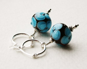 Lampwork Glass Beads Sterling Silver Hoop Earrings Burgundy and Blue