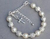 Cross Charm Bracelet, First Communion Gift, Baptism Gift, First Communion Jewelry, Faith Bracelet, Christian Bracelet, Catholic Jewelry
