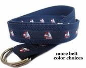 Sailboat Belt / D-Ring Belt for Men / Nautical Canvas Belt / Ribbon Belt / Preppy Men Boys Teens Big & Tall Men - Red White Blue Sailboats