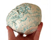Ceramic Bowl Waves Hand Crafted Pottery with Star fish and barnacles in aqua and white
