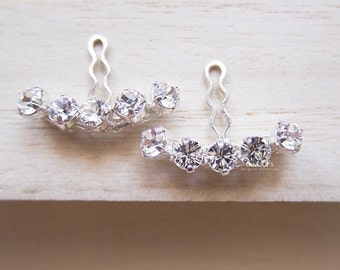 Minimalist Handmade Ear Jacket Earrings, Sterling Silver, Crystal Clear