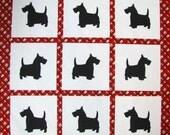"Quilt blocks, quilt squares, Appliqued,  DIY,  Ready to outline stitch, NINE 7 1/2"" blocks, Black scottie dogs set, cotton, ready to sew"