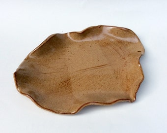 Nutmeg brown leaf tray, platter, serving dish, platter, handmade, ready to ship