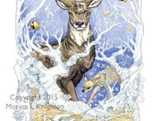 Make New Things, large print on watercolor paper, from the Going Stag series