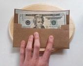 "HANDmade KRAFT Paper - Money / Receipt / Ticket Envelopes : Pack-of-10 // Custom Size ( 3"" x 7"" ) Self-Adhesive. Everyday & Holiday Gifting"
