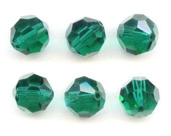 Vintage Swarovski Emerald Art 5000 Beads, 10 Millimeters (6)
