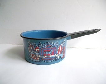 Blue Enamelware Sauce Pan with Gun Flag Horse Drums Red White and Blue