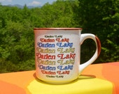 80s vintage mug DARIEN LAKE water park new york ny coffee cup rainbow souvenir