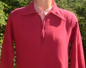 vintage 60s sweatshirt chain stitch half zip henley golf sweater soft Medium Large chainstitch 70s