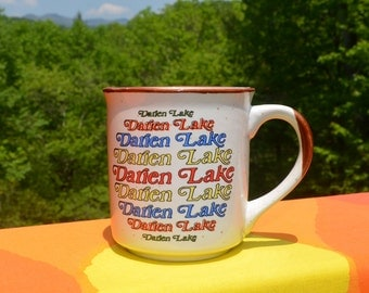 80s vintage mug DARIEN LAKE water park new york ny coffee cup rainbow souvenir