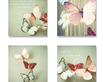 Butterfly nursery photo canvas set, 4 canvas gallery wraps, typography, butterflies, pastel, pink, girls room decor, kids wall canvas art