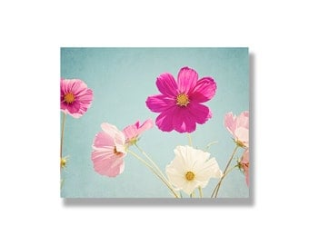 Pink cosmos flower canvas wall art, pink, white, blue, flower art, spring wall art, garden flower photography, nature - Hello Sunshine