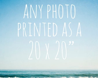 "Any photo printed as a 20 x 20"" photo - large wall art, large print, you choose, beach photos, flower photos, shabby chic decor, nature art"
