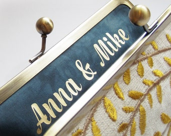 Customize your clutch bag, wedding monogram, custom message label, bridesmaid, bridal gift for her