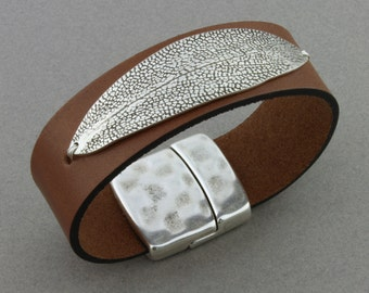 """Artisan Made Fine Silver, 3/4 inch Leather Band, Magnetic Clasp - """"Sage Leaf"""" by Carol Ann Bosek"""
