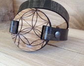 Cool idea for Bridesmaids Gifts | Sacred | Flower of Life1 | double wrap leather & fir wood bracelete