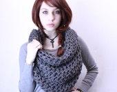 The Grunge chunky scarf Cowl neck Hood Vegan Slate Grey