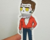 James Dean Calavera Die Cut Clear Vinyl Sticker
