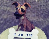 Customize your dog Pet Puppy Grooms Wedding Cake Topper folk art clay sculpture