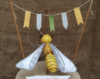 Honey Bee Wedding cake topper Set for your Rustic Wedding Ready to Ship