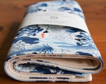 Organic Burp Cloth, Set of Two in CACTI; Indigo Blue Cactus, Desert Baby Burp Cloths Gift Set (Last One)