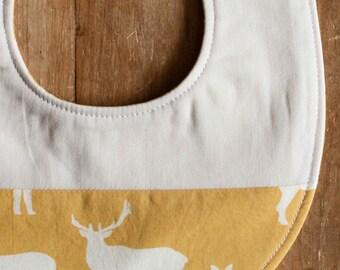 Organic Baby Bib, ELK FAMILY SUN; Yellow Elk, Deer Newborn Baby Bib Gift by Organic Quilt Company (Last One)