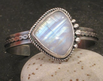 Rainbow Moonstone and Oxidized Sterling Silver Cuff Bracelet with Twisted Wire Design and Argentium Silver Granulation Artisan Handmade