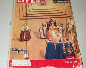 Vintage Life Magazine Queen Elizabeth II Coronation June 15 1953 11253