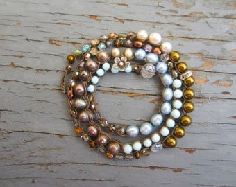 Trio's crocheted bracelet/necklace, with semiprecious stones freshwater pearls, crystals