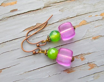 Specialty glass earrings, back to the 60's pink cubes,  or gorgeous crystal glitter drop earrings