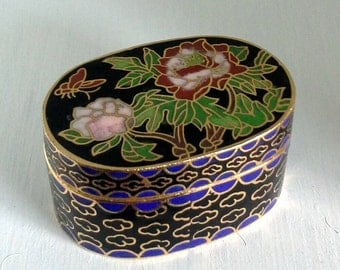 Cloisonne Trinket Ring Box, Red Pink Roses Butterfly Leaves Keepsake Box, Blue Black Gold