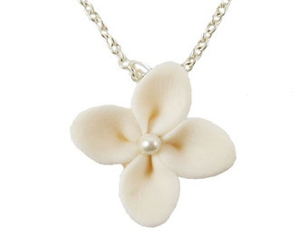Hydrangea Pearl Necklace - Hydrangea Jewelry