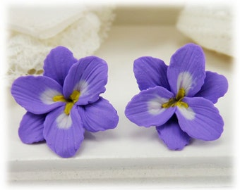 Purple Freesia Earrings Stud or Clip On