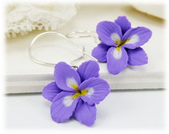 Purple Freesia Dangle Earrings - Purple Freesia Drop Earrings, Purple Flower Earrings