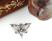 CLOSEOUT * Antique Silver (1 Piece) Art Deco 3 Ring Connector Stamping ~ Jewelry Ornament Finding (FA-6052)