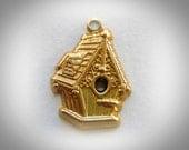 BRASS 10 Bird House Brass Charms - Brass Stampings - Jewelry Findings (G) #