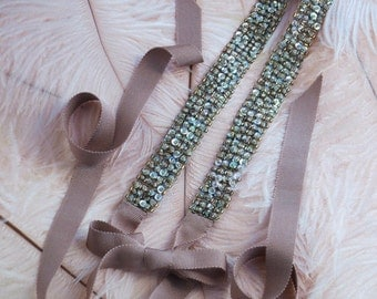 Praline Beaded Ribbon Headband