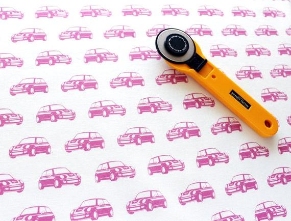 Mini Car Fabric / Car Print Fabric / Fat Quarters / Quilting Cottons / Car Fabric / Mini Cooper / Pink and White / Cute Fabric