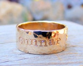 Wide Gold Ring - Narrow Duck Band- Personalized Custom Engraved- Mens Womens Wedding or Engagement Unisex Jewelry