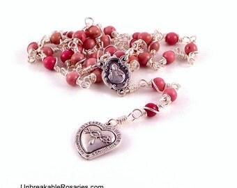 Most Precious Blood of Jesus Rosary Chaplet in Pink Rhodonite by Unbreakable Rosaries