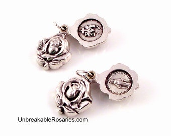 Virgin Mary Miraculous Medal Double Sided Rosebud Locket Swings Open