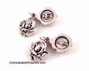 Virgin Mary Miraculous Medal Double Sided Rosebud Locket Swings Open