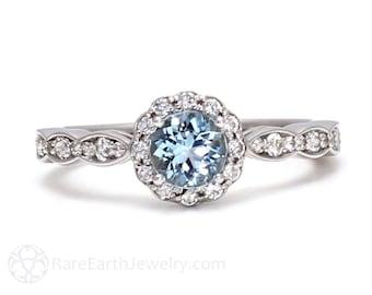 Aquamarine Ring Aquamarine Engagement Ring 18K Gold Diamond Halo Gemstone Ring March Birthstone Ring